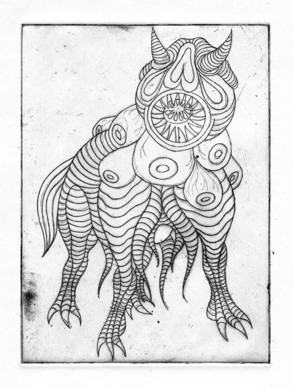 gravure eau forte monstre cornu illustration dessin Fontainebleau Gwen Tomahawk