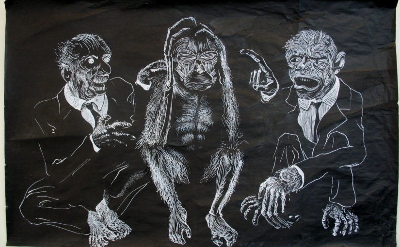 Les trois singes : le nihiliste et les deux capitalistes