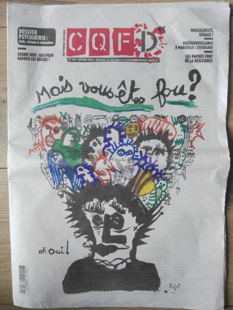CQFD, 184, Dossier psychiatrie, récits, critiques & alternatives, Hospitalisations et soins sous contraintes, dessin de presse, illustration,  gwen tomahawk